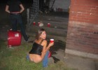 Drunk teen pissing on the lawn
