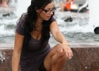 Upskirt reveals black panties on this chick