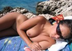 Hot girl with sunglasses exposed nude