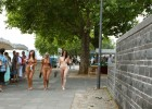 Nude girls taking a walk in public