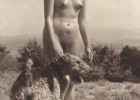 Vintage picture with a nude lady and her dog