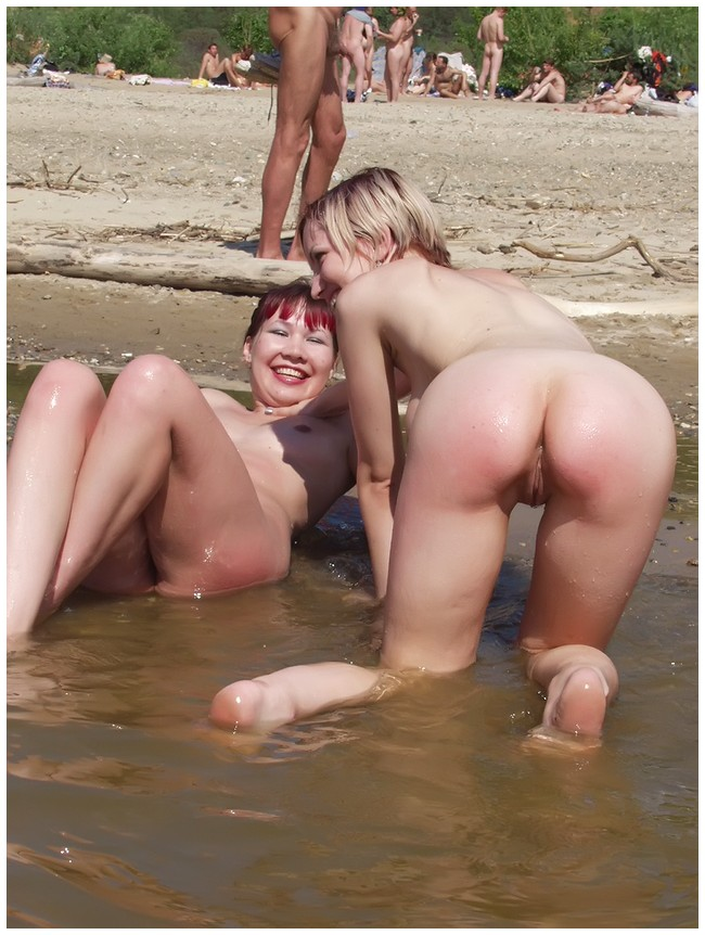 Wild nudist babes in the water